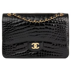 2011 Chanel Black Shiny Alligator Leather Jumbo Classic Double Flap Bag