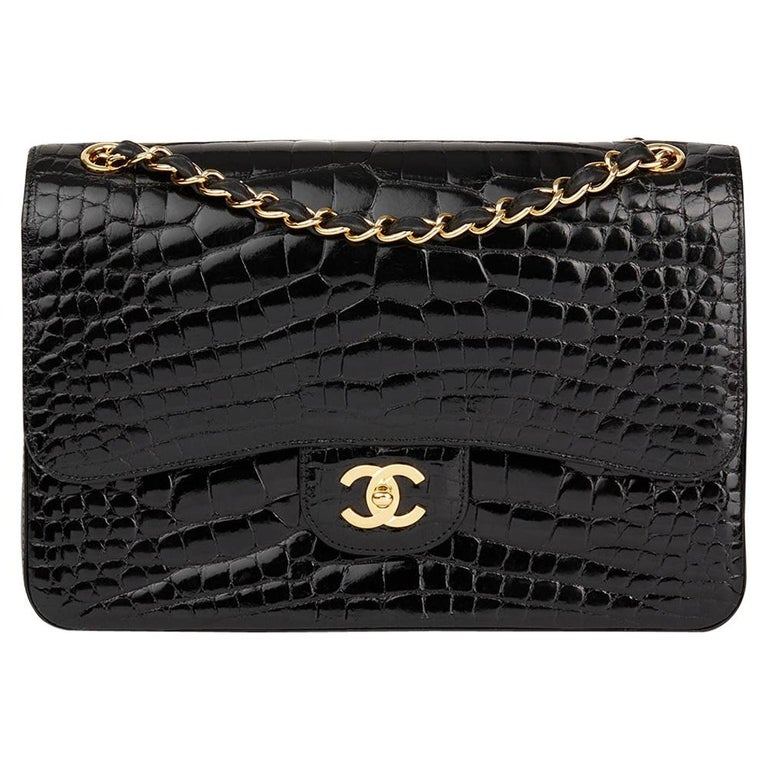 2011 Chanel Black Shiny Alligator Leather Jumbo Classic Double Flap Bag For Sale