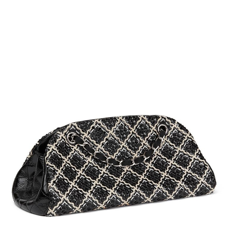 Women's 2011 Chanel Black Woven Patent Leather Stitch Just Mademoiselle Bowling Bag For Sale