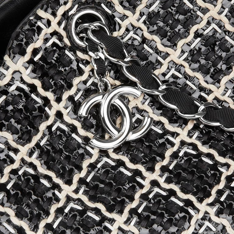 2011 Chanel Black Woven Patent Leather Stitch Just Mademoiselle Bowling Bag For Sale 2