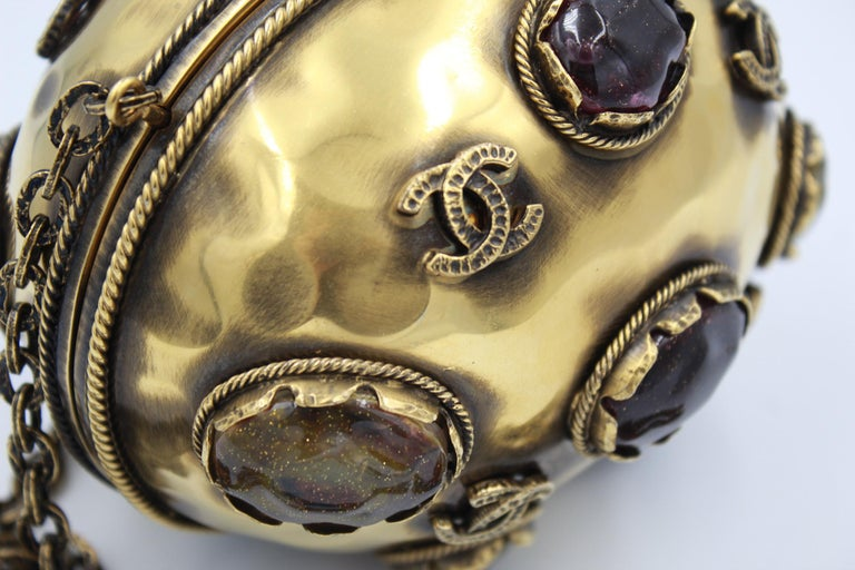 Brown 2011 Chanel Jewel Clutch from Paris - Byzance Metiers d'Art Collection For Sale