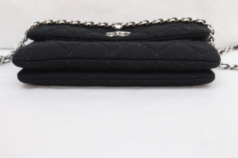2011 Chanel nice little bag in black quilted jersey For Sale 1