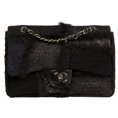 2011 Chanel Tweed Fabric, Leather & Fantasy Fur Patchwork Jumbo Single flap bag