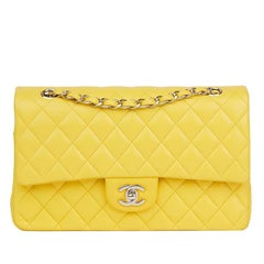2011 Chanel Yellow Quilted Lambskin Medium Classic Double Flap Bag