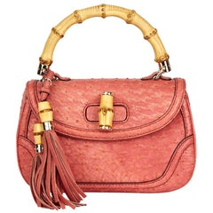 2011 Gucci Coral Ostrich Leather Bamboo Classic Top Handle