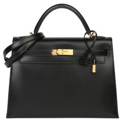 2011 Hermes Black Box Calf Leather Vintage Kelly 32cm Sellier