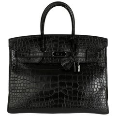 2011 Hermes Black Matte Alligator Leather SO Black Birkin 35cm