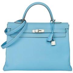 2011 Hermès Celeste & Mykonos Epsom Leather Kelly 35cm Retourne