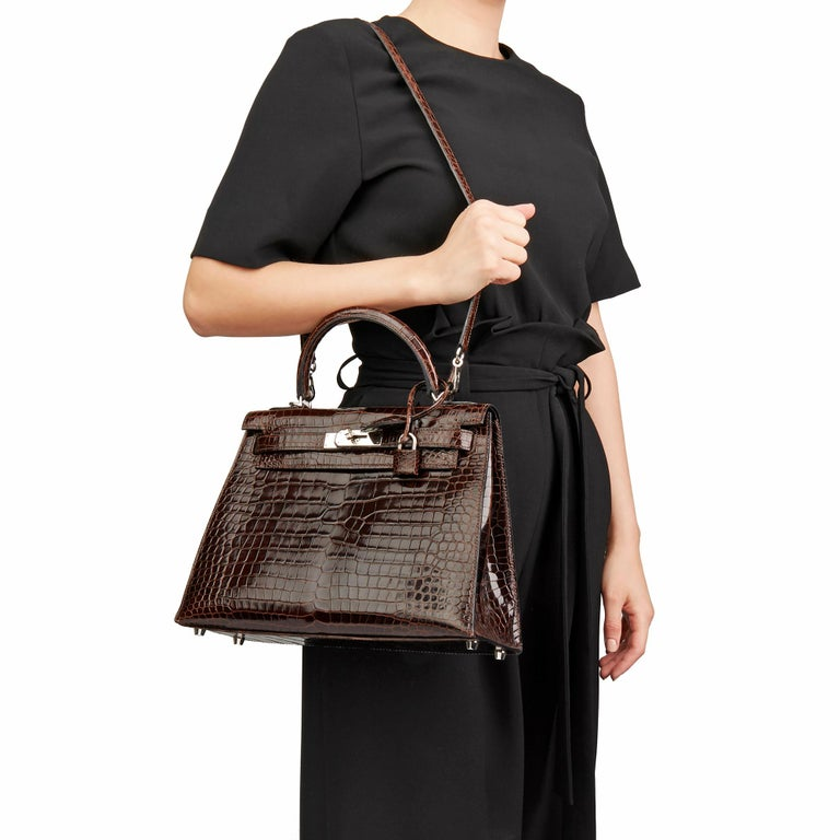 2011 Hermès  Chocolate Brown Shiny Porosus Crocodile Leather Kelly 28cm Sellier 6