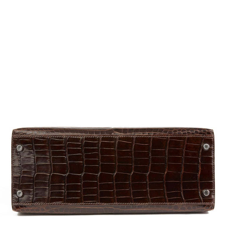 Women's 2011 Hermès  Chocolate Brown Shiny Porosus Crocodile Leather Kelly 28cm Sellier