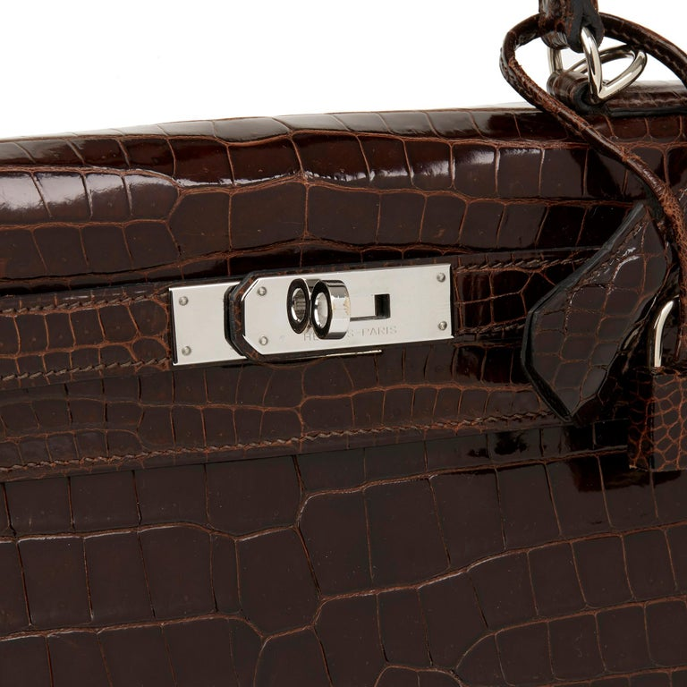 2011 Hermès  Chocolate Brown Shiny Porosus Crocodile Leather Kelly 28cm Sellier 1
