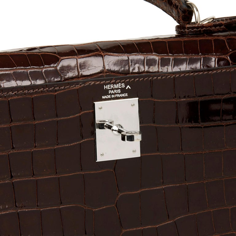 2011 Hermès  Chocolate Brown Shiny Porosus Crocodile Leather Kelly 28cm Sellier 2