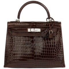 2011 Hermès  Chocolate Brown Shiny Porosus Crocodile Leather Kelly 28cm Sellier
