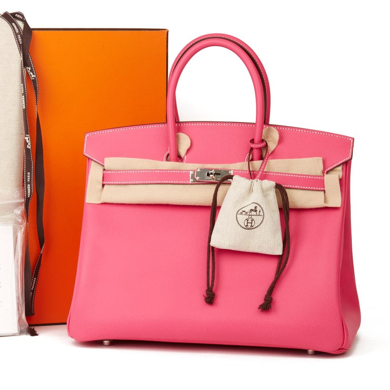 2011 Hermès  Rose Tyrien & Rubis Epsom Leather Candy Collection Birkin 35cm For Sale 6