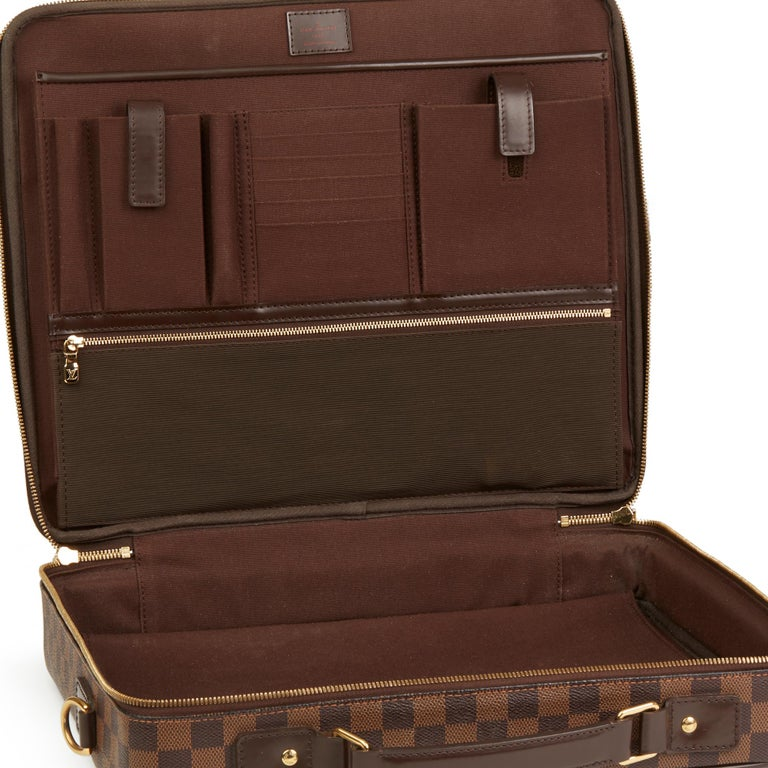 2011 Louis Vuitton Brown Damier Ebene Coated Canvas Sabana Computer Case  For Sale 6 982af7a3954dd