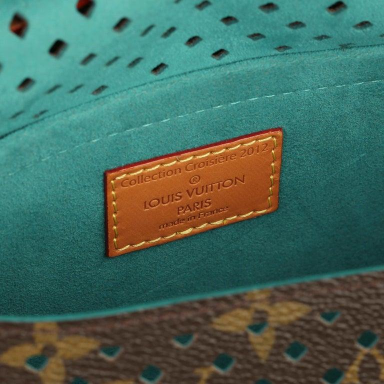 2011 Louis Vuitton Brown Perforated Monogram Canvas & Vachetta Teal Saumur 30 For Sale 7