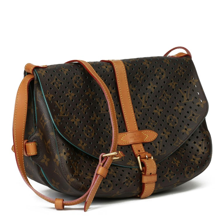 LOUIS VUITTON Brown Perforated Monogram Coated Canvas & Vachetta Leather Teal Saumur 30  Xupes Reference: HB3949 Serial Number: TJ4181 Age (Circa): 2011 Authenticity Details: Date Stamp (Made in France) Gender: Ladies Type: Shoulder,