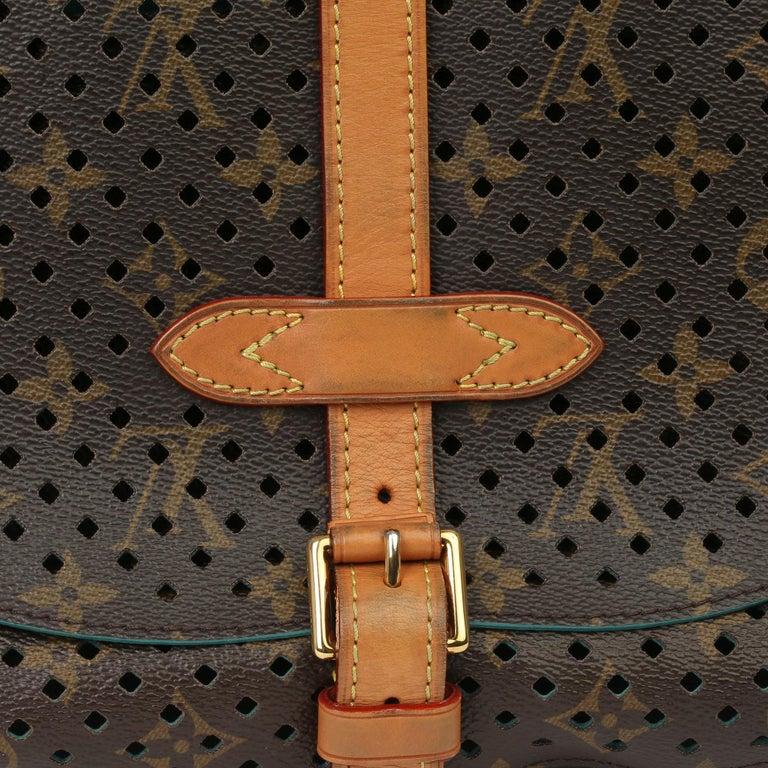 2011 Louis Vuitton Brown Perforated Monogram Canvas & Vachetta Teal Saumur 30 For Sale 3