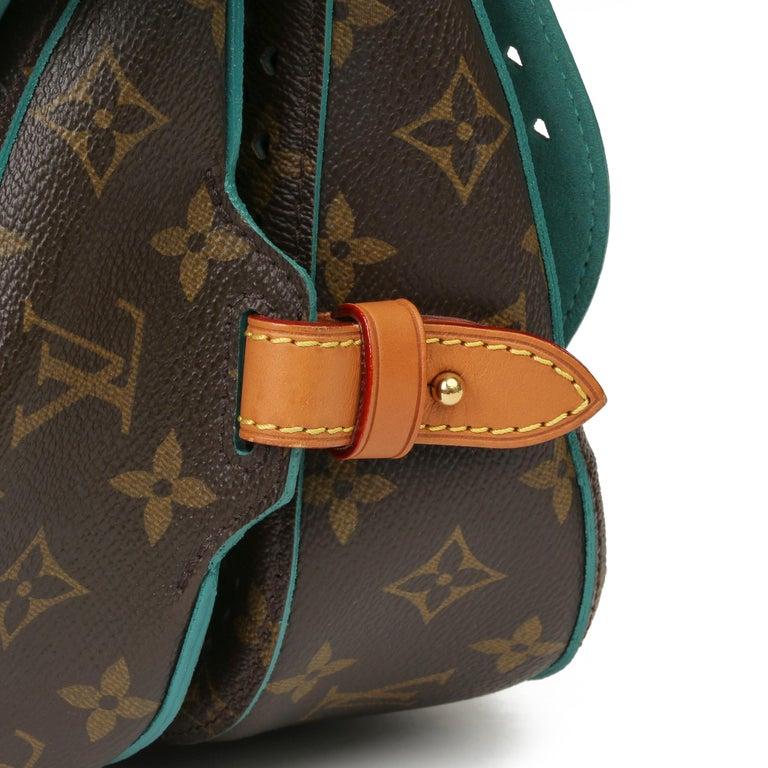 2011 Louis Vuitton Brown Perforated Monogram Canvas & Vachetta Teal Saumur 30 For Sale 4