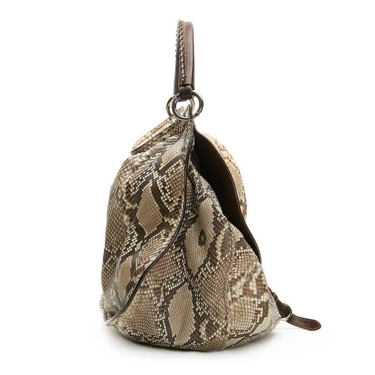 Brown 2011 Mui Mui Python Leather Aviator Hobo Bag For Sale