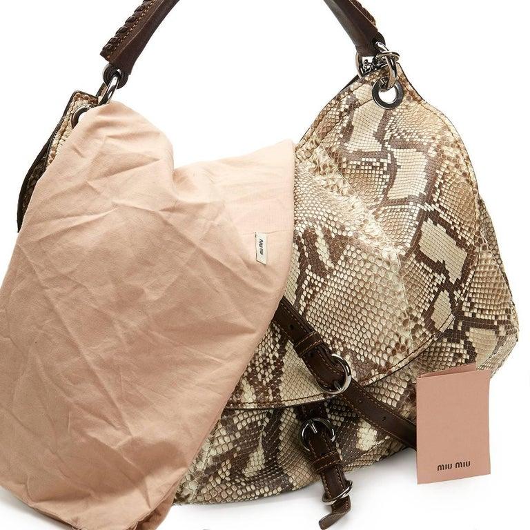 2011 Mui Mui Python Leather Aviator Hobo Bag For Sale 3
