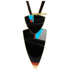 2011 Richard Chavez Black Jade, White Jade, Turquoise, Coral and Gold Pendant
