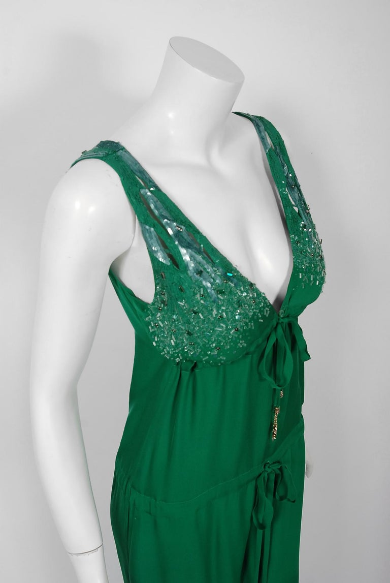 2011 Roberto Cavalli Emerald Green Beaded Jeweled Silk Low-Plunge Jumpsuit  In Excellent Condition For Sale In Beverly Hills, CA