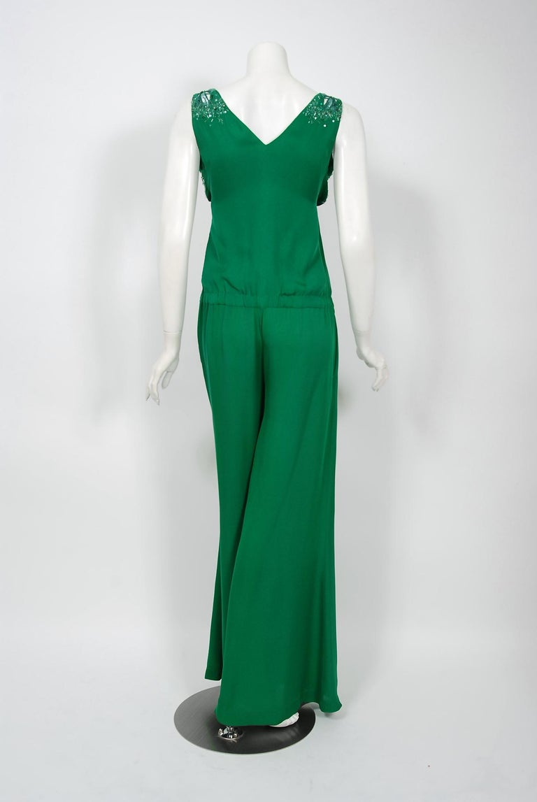 2011 Roberto Cavalli Emerald Green Beaded Jeweled Silk Low-Plunge Jumpsuit  For Sale 1