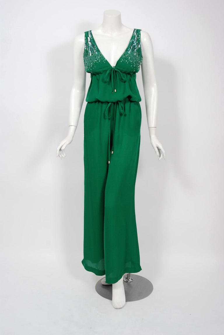 2011 Roberto Cavalli Emerald Green Beaded Jeweled Silk Low-Plunge Jumpsuit  For Sale 2
