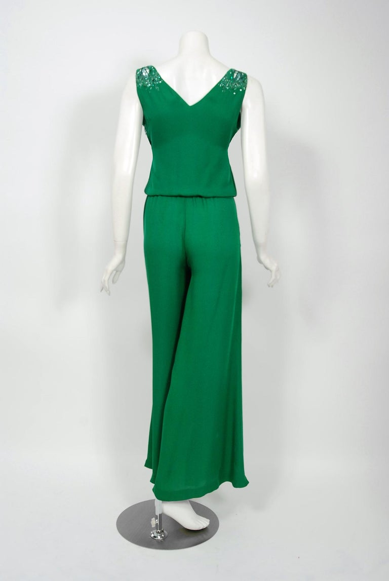 2011 Roberto Cavalli Emerald Green Beaded Jeweled Silk Low-Plunge Jumpsuit  For Sale 4