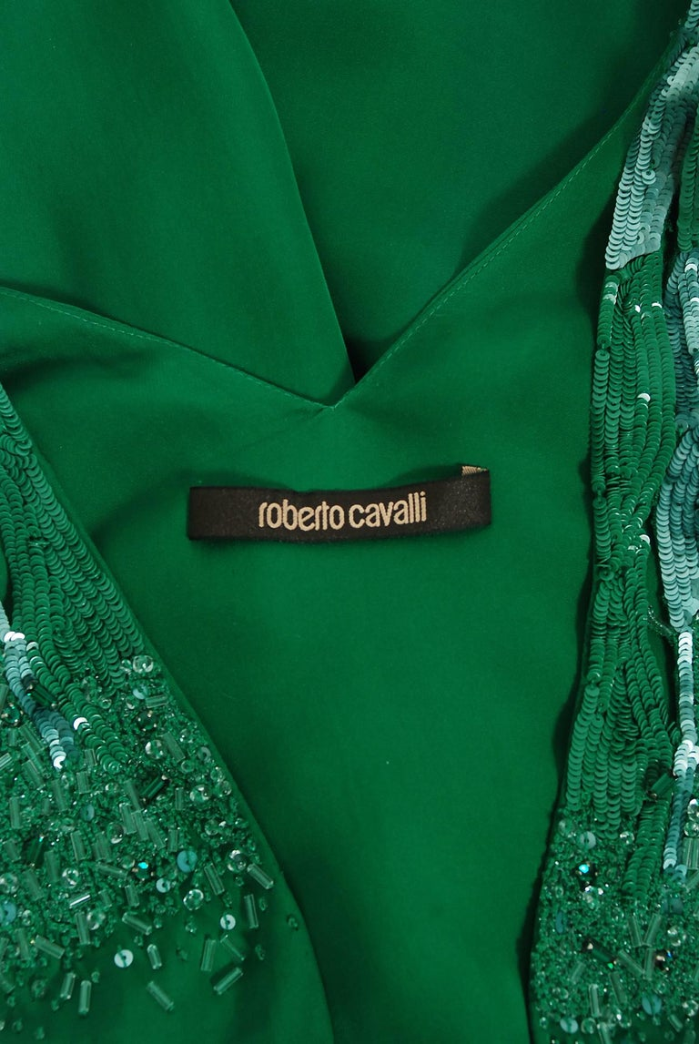 2011 Roberto Cavalli Emerald Green Beaded Jeweled Silk Low-Plunge Jumpsuit  For Sale 5