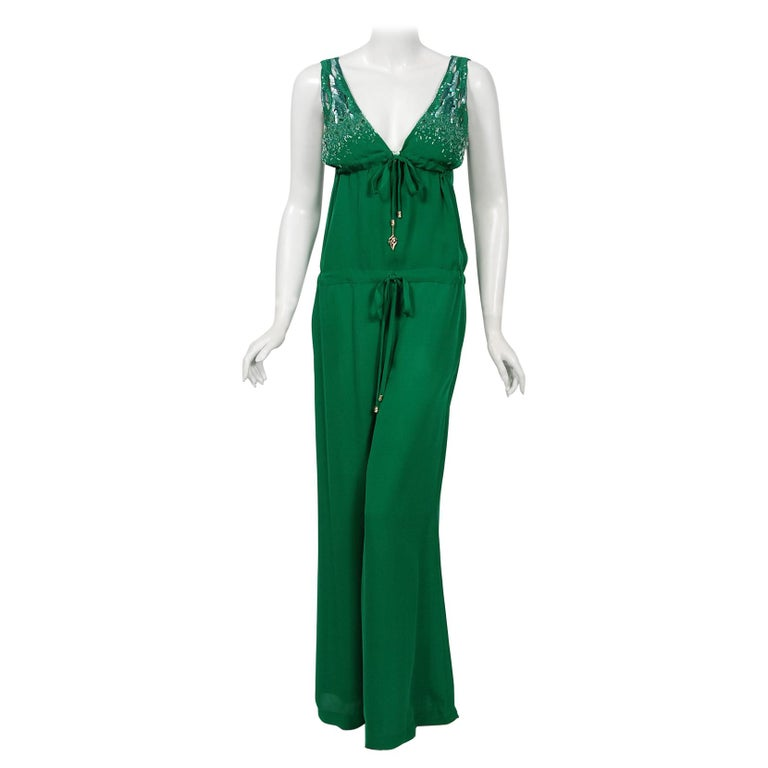 2011 Roberto Cavalli Emerald Green Beaded Jeweled Silk Low-Plunge Jumpsuit  For Sale