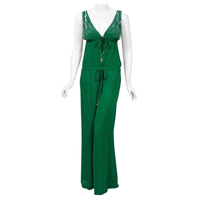2011 Roberto Cavalli Runway Emerald Green Beaded Jeweled Silk Low-Cut Jumpsuit For Sale
