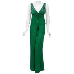 2011 Roberto Cavalli Runway Emerald Green Beaded Jeweled Silk Low-Cut Jumpsuit