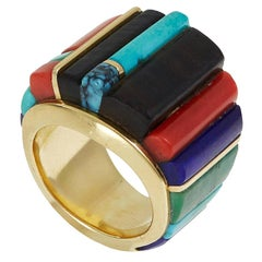 2011 Sonwai Coral, Chrysocolla, Lapis Lazuli, Sugilite, Turquoise and Gold Ring