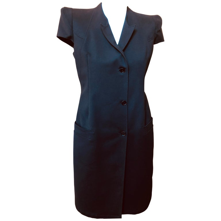 2011P Givenchy Black Cotton Shirt Dress (42 Itl) For Sale