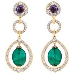 20.12 Carat Zambian Emerald Tumble Tanzanite and Diamond 18kt Gold Drop Earrings