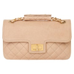 2012 Chanel Beige Quilted Caviar Leather 2.55 Reissue Classic Single Flap Bag