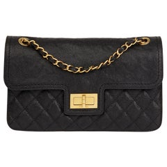 2012 Chanel Black Quilted Caviar Leather 2.55 Reissue Classic Single Flap Bag