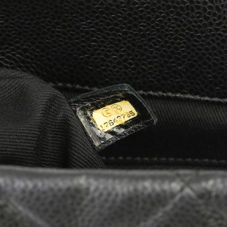 2012 Chanel Black Quilted Caviar Leather Timeless Shoulder Bag  For Sale 6