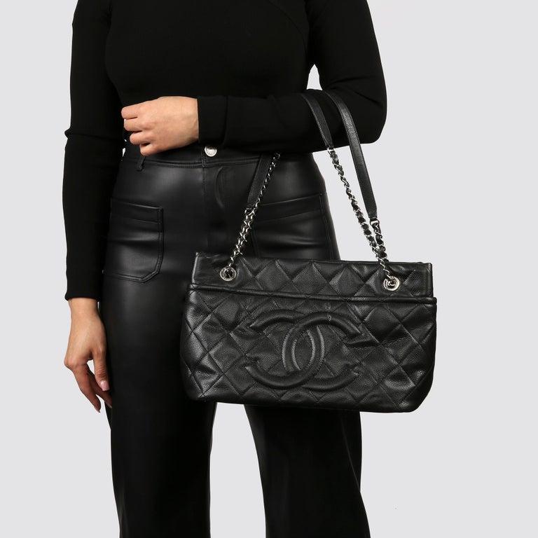 2012 Chanel Black Quilted Caviar Leather Timeless Shoulder Bag  For Sale 8