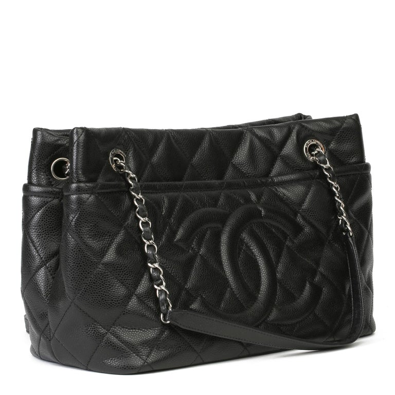 CHANEL Black Quilted Caviar Leather Timeless Shoulder Bag   Xupes Reference: HB3950 Serial Number: 17643735 Age (Circa): 2012 Authenticity Details: Serial Sticker (Made in Italy)  Gender: Ladies Type: Shoulder, Tote   Colour: Black Hardware: Silver