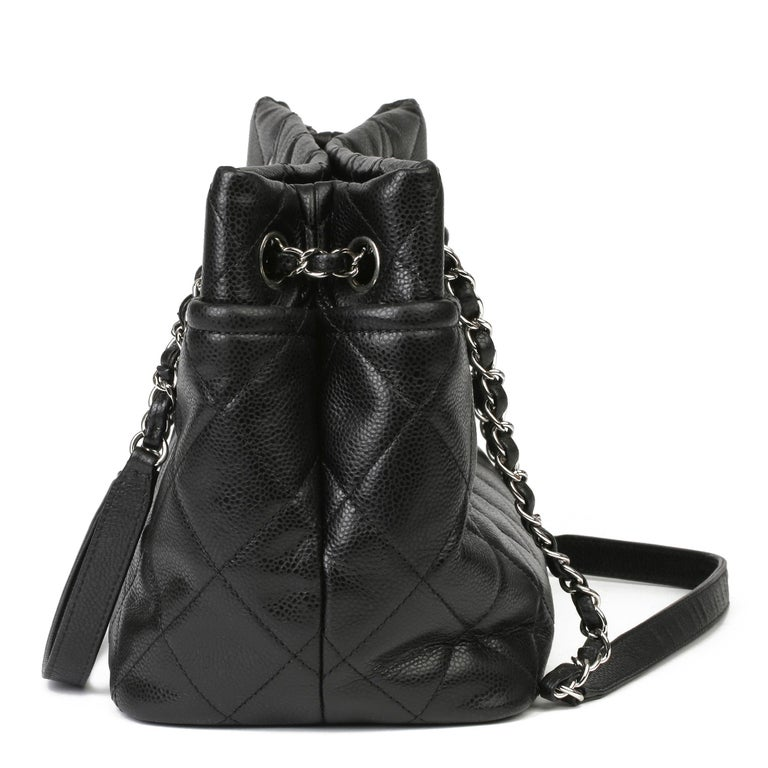 Women's 2012 Chanel Black Quilted Caviar Leather Timeless Shoulder Bag  For Sale