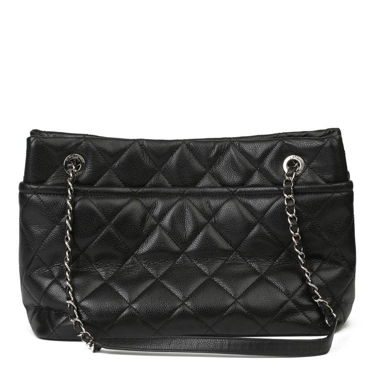 2012 Chanel Black Quilted Caviar Leather Timeless Shoulder Bag  For Sale 1