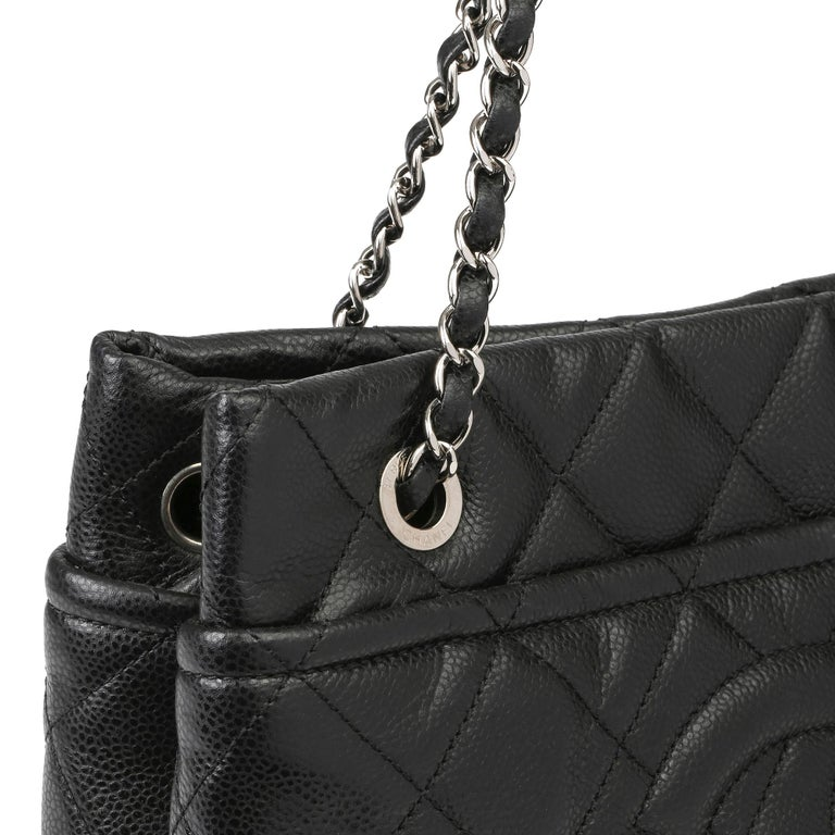 2012 Chanel Black Quilted Caviar Leather Timeless Shoulder Bag  For Sale 4