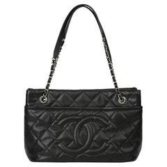 2012 Chanel Black Quilted Caviar Leather Timeless Shoulder Bag