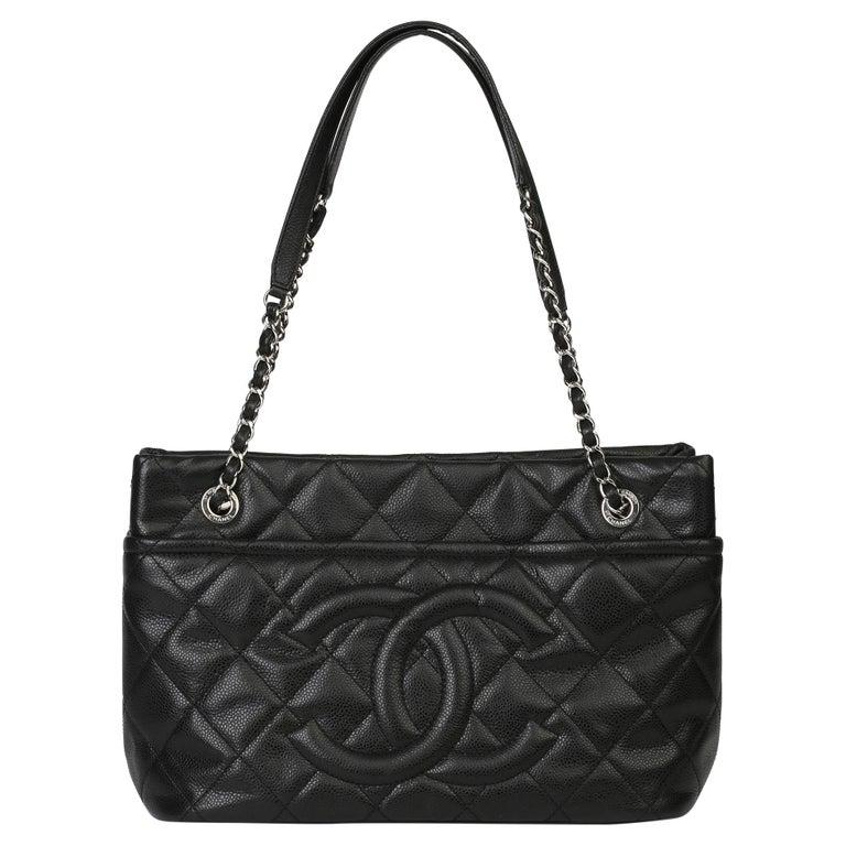 2012 Chanel Black Quilted Caviar Leather Timeless Shoulder Bag  For Sale