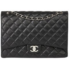 2012 Chanel Black Quilted Lambskin Maxi Classic Double Flap Bag