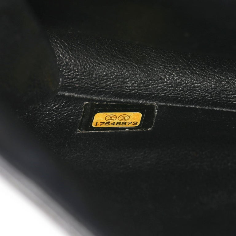 2012 Chanel Black Quilted Patent Leather Classic Clutch on Chain 6