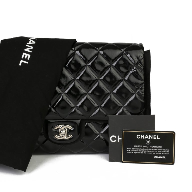 2012 Chanel Black Quilted Patent Leather Classic Clutch on Chain 8
